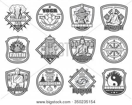 Buddhism Religion Vector Symbols And Icons. Buddha Statue, Yin Yang And Sacred Lotus, Prayer Wheels,