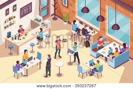 Interior View On People Working And Having Lunch At Cafe Or Cafeteria, Work Or Job Coffee Meeting. I