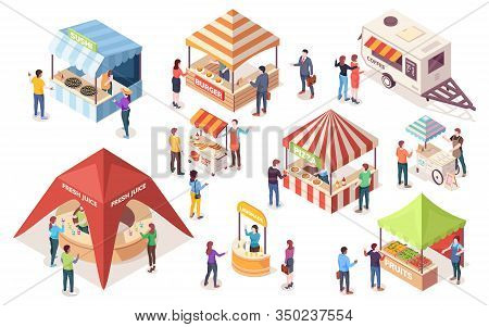 Street Or Fast, Junk Food Tents. Set Of Isometric Counters And Stall, Van Or Wagon, Awning And Canop