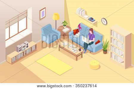 Isometric Living Room With Woman Freelancer And Notebook. Girl Doing Freelance Job At Sofa. Remote W