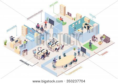 Isometric Office Design With Ceo, Presentation Room And Open Space, Rest Area And Kitchen, Lounge An