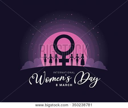 International Women's Day Banner With Silhouette Group Of Women Shaking Hands Between Female Symbols