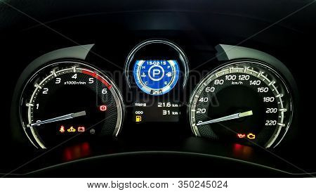 Car Dashboard Have A Speed Meter, Tachometer, Temperature Meter, Fuel Indicator, Trip Mile Meter, Se