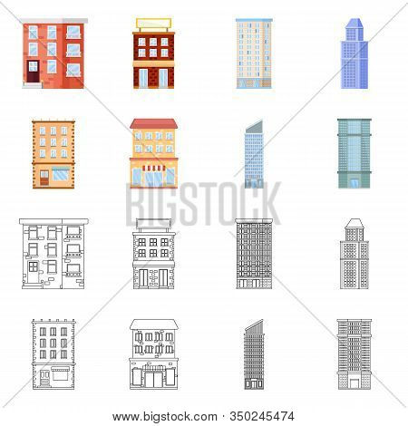 Vector Illustration Of Municipal And Center Symbol. Set Of Municipal And Estate Vector Icon For Stoc