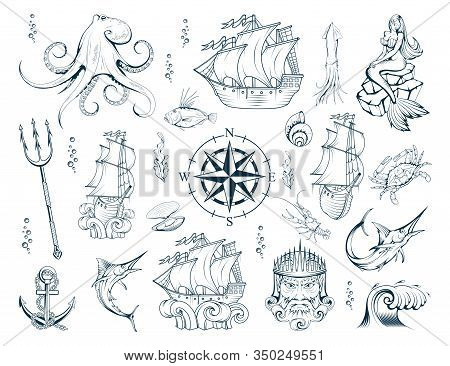 Nautical Elements Set With Sailor Sea Animals, Mermaid, Ship, Diving Helmet, Anchor, Compass, Poseid