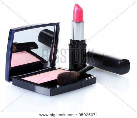 make-up blusher and pink lipstik isolated on white