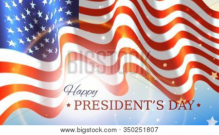 Happy Presidents Day With Flag And Stars On Sky Background. Vector Illustration Of A Waving Flag For