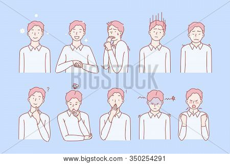 Boys Emotions And Facial Expressions Set Concept. Illustration Or Collection Showing Different Emoti