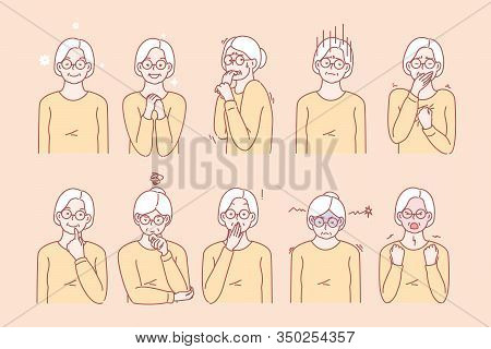 Old Age Womans Emotions And Facial Expressions Set Concept. Illustration Or Collection Showing Diffe