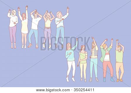 Party Animal Concept. Set Of Men And Women Dancers. Illustration Of Men And Women Students Dancers.