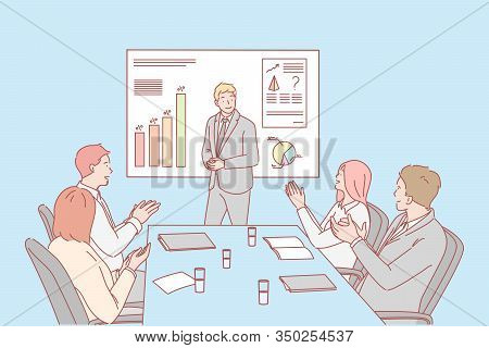 Presentation, Business, Congratulation, Hiring Concept. Young Businessman Shows Presentation About C