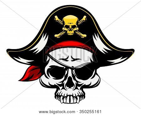 A Pirate Skull Wearing A Tricorn Hat And An Eyepatch