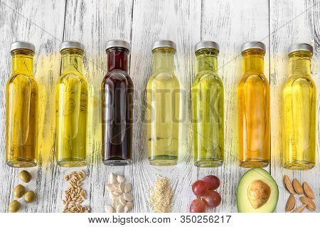 Assortment Of Vegetable Oils In Bottles Flst Lay