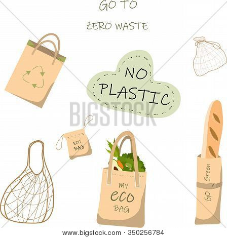 Paper Bag For Recycling. Illustration A Set Of Recycled Paper Bags And Fabric Bags That Do Not Harm