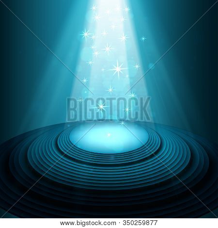 Theater Stage With Blue Spotlights Vector Unusual