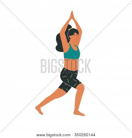 Brunette Woman In Warrior Pose Or Virabhadrasana Yoga Asana Isolated On White. Yoga, Pilates Or Stre
