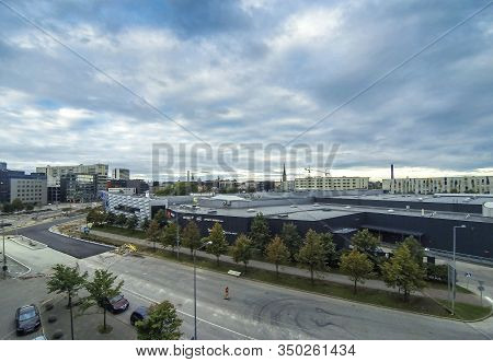 Tallinn, Estonia - Sep 5, 2019: Panoramic Aerial View Of Sadama District (harbour) In Tallinn City,