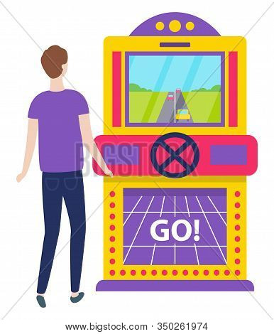 Game Machine Vector, Car Race Isolated Character Playing. Start Of Racing Bets And Winning Money. Lu