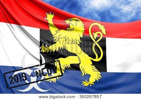 Novel Coronavirus Disease Named 2019-ncov With Benelux Flag Closeup On Blue Sky Background