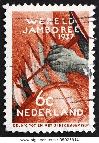 Postage stamp Netherlands 1937 Assembly of the Boy Scouts