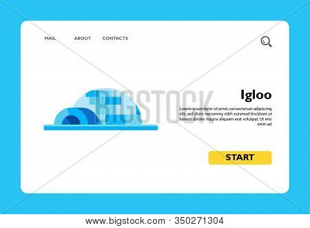 Multicolored Vector Icon Of Igloo, Spherical Eskimo Snow House