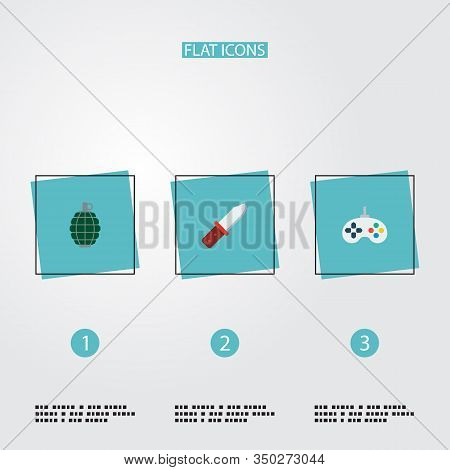 Set Of Game Icons Flat Style Symbols With Grenade, Infantry Knife, Joystick And Other Icons For Your