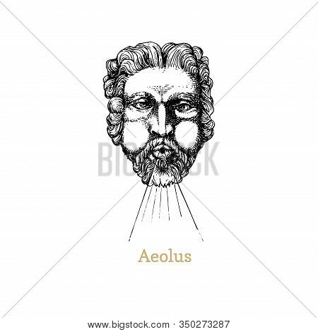 Aeolus, God Keeper Of The Winds Hand Drawn In Engraving Style. Vector Retro Graphic Illustration Of