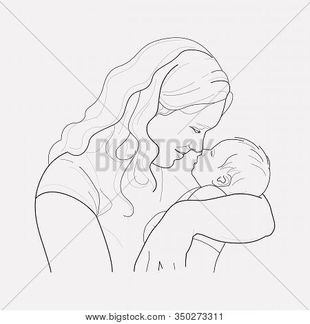 Mothers Day Icon Line Element. Vector Illustration Of Mothers Day Icon Line Isolated On Clean Backgr