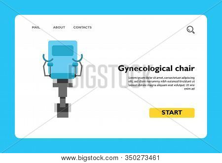 Vector Icon Of Gynecological Chair. Gynecologist, Abortion, Medical Examination. Gynecology Concept.