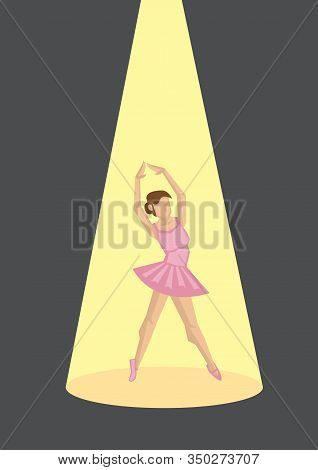 Ballerina On Show. Young Graceful Woman Ballet Dancer, Dressed In Pink Dress Outfit, Demonstrating D