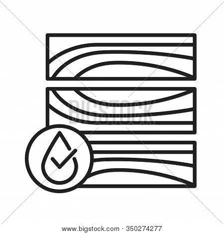 Waterproof Wood Flooring Black Line Icon. Water Repellent Material Concept. Impermeable Dwr Tile, La