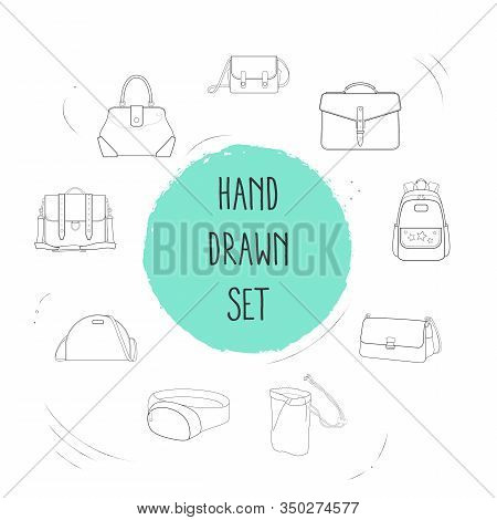 Set Of Accessory Icons Line Style Symbols With Safari Bag, Briefcase, Fanny Pack And Other Icons For