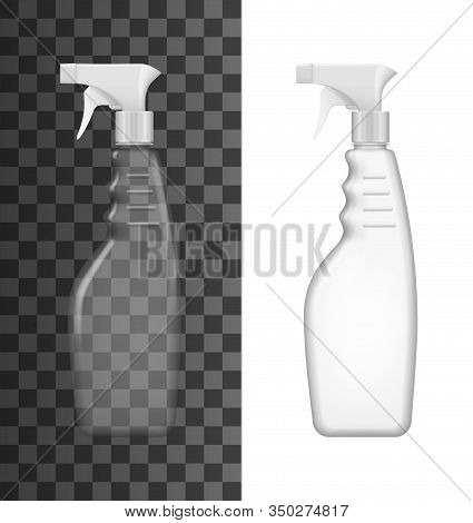 Spray Bottle 3d Mockup Templates Of Clear And White Plastic Containers With Trigger Sprayers And Pis