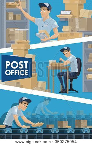 Post Office Vector Design Of Mail Delivery Service. Postmen Sorting And Stamping Parcel Boxes And Pa