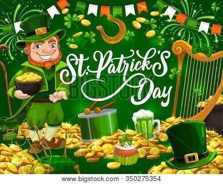 Leprechaun With Pot Of Gold, St Patricks Day Vector Design. Irish Holiday Elf With Green Shamrock, H