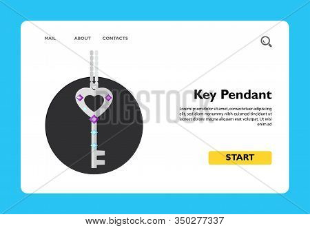 Key Pendant On Chain. Beautiful, Accessory, Elegant. Pendant Concept. Can Be Used For Topics Like Je