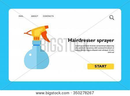 Vector Icon Of Plastic Hairdresser Sprayer. Spray Bottle, Spray Pistol Cleaner, Hairdressing Salon.