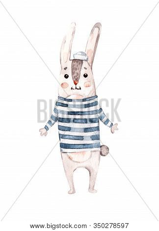 Watercolor Nursery Illustration With Blue Nautical Animal Rabbit Bunny. Nautical Poster. Fashion Ill