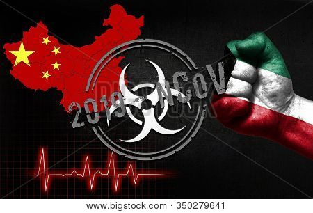 The Concept Of An Epidemic In China With A Virus Named 2019-cov, With The Flag Of Kuwait On The Fist