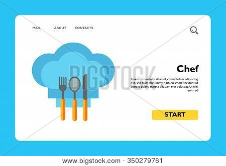 Illustration Of Knife, Fork And Spoon On Chef Hat. Cutlery, Utensils, Restaurant, Cafe, Cooking. Caf