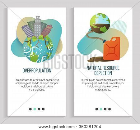 Natural Resource Depletion Vector, Overpopulation Of Cities And Big Towns, Planet Earth With Gas Can
