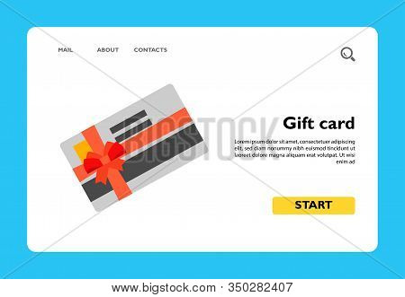 Vector Icon Of Gift Card Tied With Red Ribbon. Present, Holiday, Shopping. Sales Concept. Can Be Use