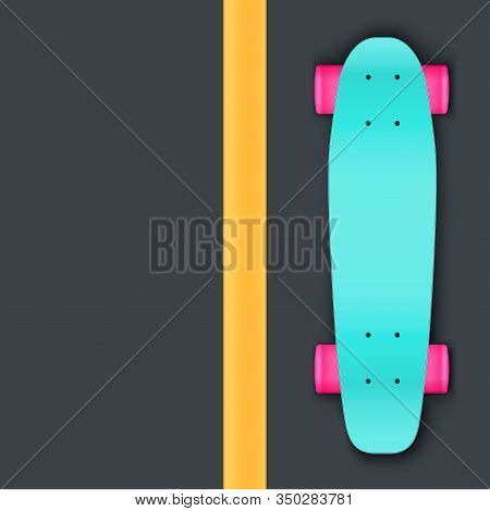 Modern Longboard On Aphalt. Top View. Urban Recreation Equipment. Street Concept Background. Vector