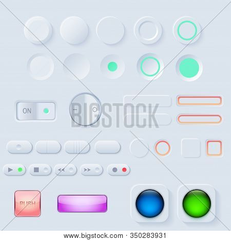 Neumorphic Ui Button Set. Light Color Workflow Graphic Elements In Skeuomorph Trend Design. Button E