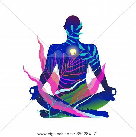 Human Body Figure Yoga And Meditation In Nature Design In Acid Bright Colors.