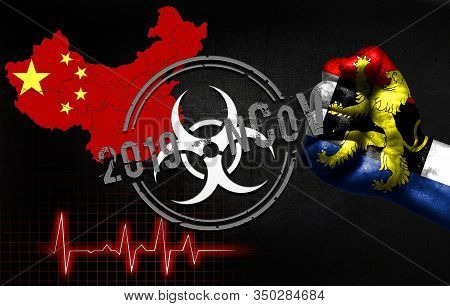 The Concept Of An Epidemic In China With A Virus Named 2019-cov, With The Flag Of Benelux On The Fis