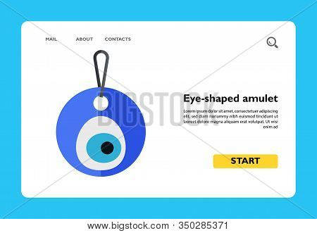 Icon Of Blue Eye-shaped Amulet Nazar On String. Round, Protection, Accessory. Turkey Concept. Can Be
