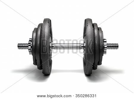 Iron Dumbbell Isolated On A White Background