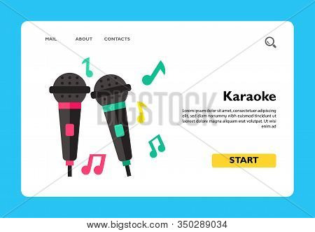 Icon Of Karaoke Microphones. Singing, Performing, Recording. Party Concept. Can Be Used For Topics L