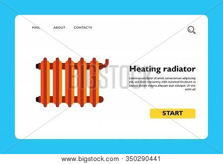 Vector Icon Of Radiator. Heating System, Central Heating, Convector. Heating Cooling Systems Concept